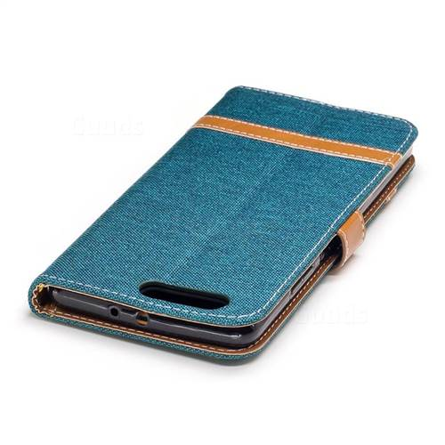 Jeans Cowboy Denim Leather Wallet Case for Huawei P10 Plus - Green