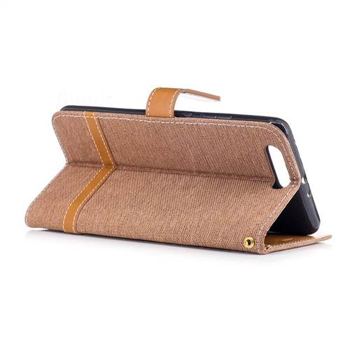 Jeans Cowboy Denim Leather Wallet Case for Huawei P10 Plus - Brown