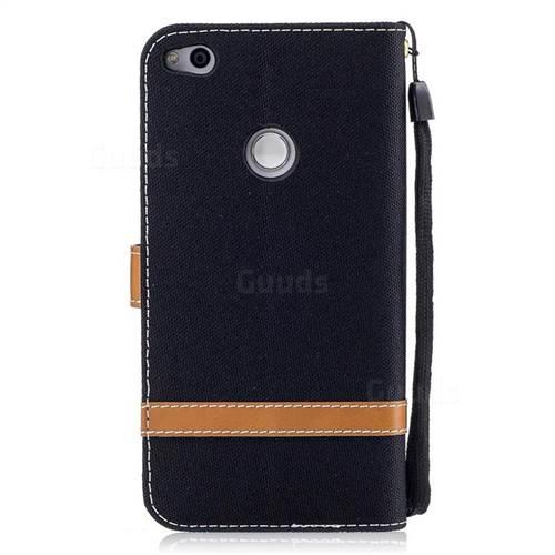 Jeans Cowboy Denim Leather Wallet Case for Huawei P8 Lite 2017 / P9 Honor 8 Nova Lite - Black