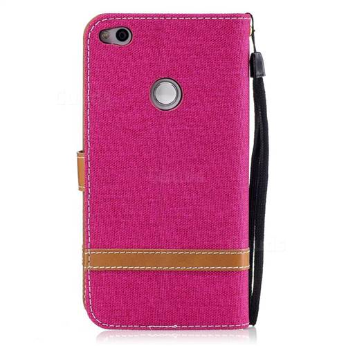Jeans Cowboy Denim Leather Wallet Case for Huawei P8 Lite 2017 / P9 Honor 8 Nova Lite - Rose