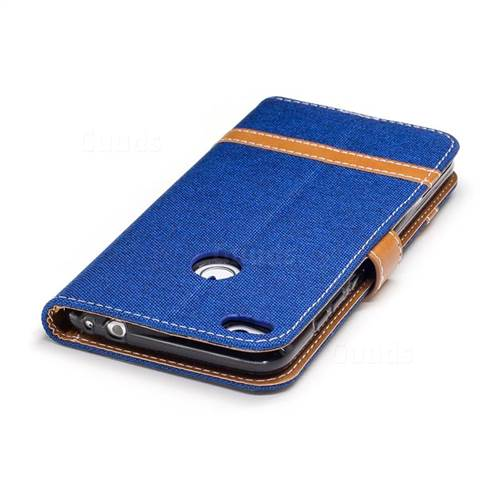 Jeans Cowboy Denim Leather Wallet Case for Huawei P8 Lite 2017 / P9 Honor 8 Nova Lite - Sapphire