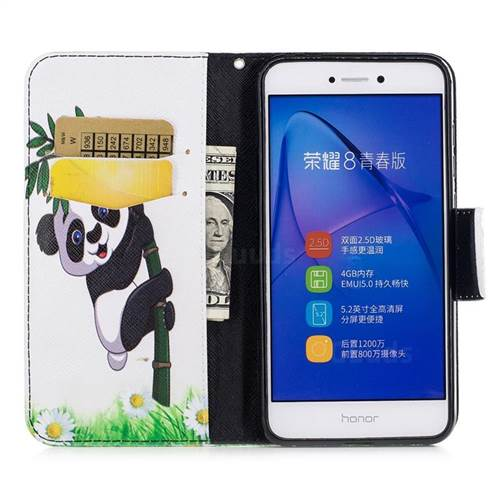 Bamboo Panda Leather Wallet Case for Huawei P8 Lite 2017 / P9 Honor 8 Nova Lite