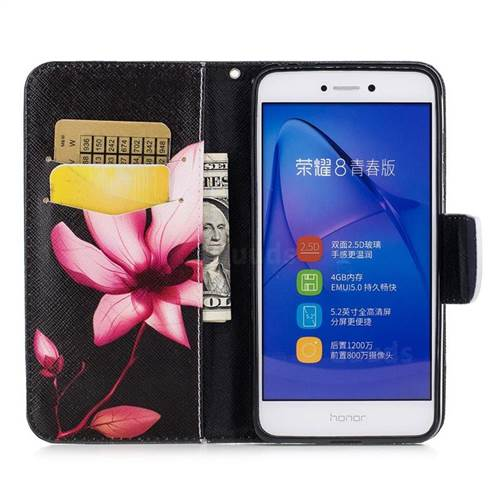 Lotus Flower Leather Wallet Case for Huawei P8 Lite 2017 / P9 Honor 8 Nova Lite