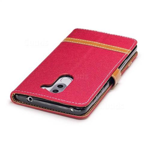 Jeans Cowboy Denim Leather Wallet Case for Huawei P9 Lite G9 Lite - Red