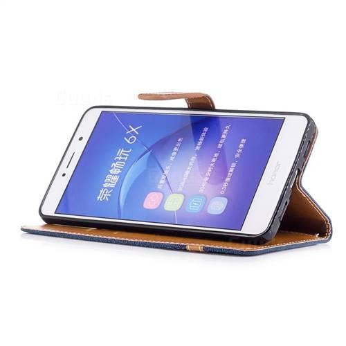 Jeans Cowboy Denim Leather Wallet Case for Huawei P9 Lite G9 Lite - Dark Blue