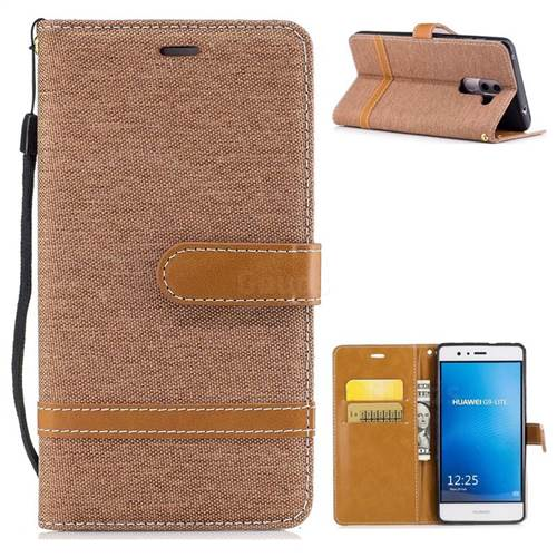 Jeans Cowboy Denim Leather Wallet Case for Huawei P9 Lite G9 Lite - Brown