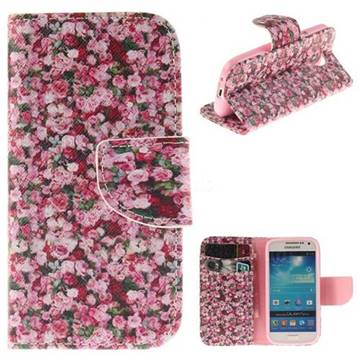 Intensive Floral PU Leather Wallet Case for Samsung Galaxy S4 Mini i9190