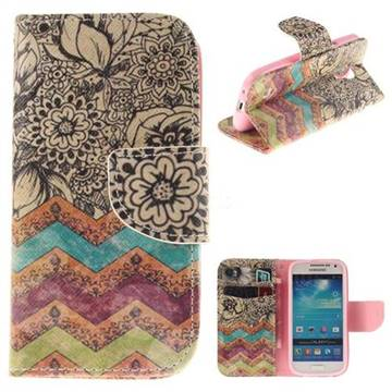 Wave Flower PU Leather Wallet Case for Samsung Galaxy S4 Mini i9190