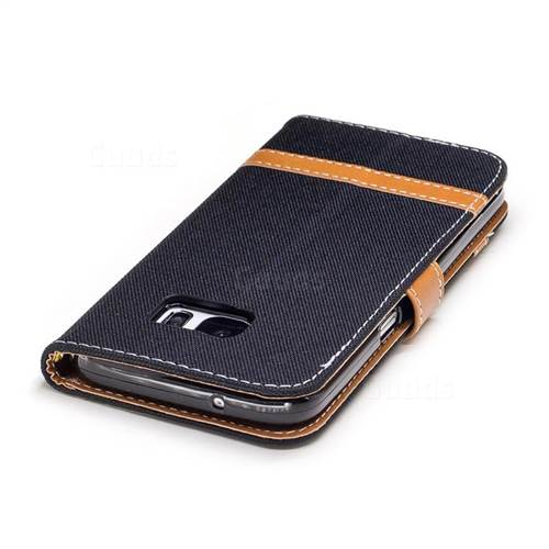 Jeans Cowboy Denim Leather Wallet Case for Samsung Galaxy S7 G930 - Black