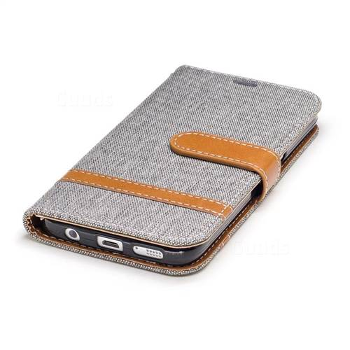 Jeans Cowboy Denim Leather Wallet Case for Samsung Galaxy S7 G930 - Gray