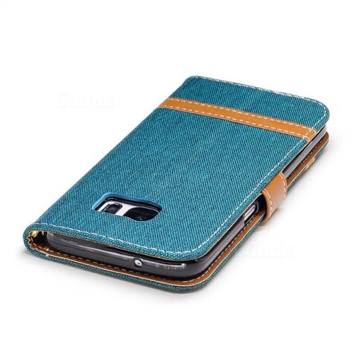 Jeans Cowboy Denim Leather Wallet Case for Samsung Galaxy S7 G930 - Green