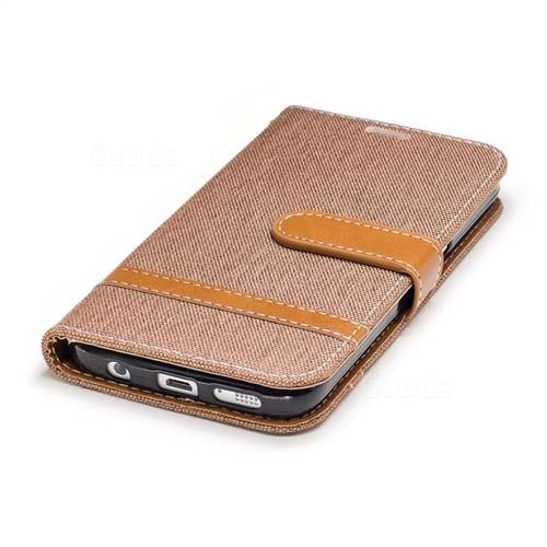 Jeans Cowboy Denim Leather Wallet Case for Samsung Galaxy S7 G930 - Brown
