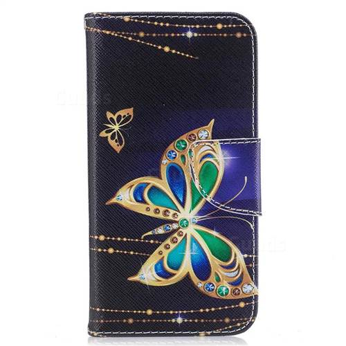 Golden Shining Butterfly Leather Wallet Case for Samsung Galaxy S7 G930