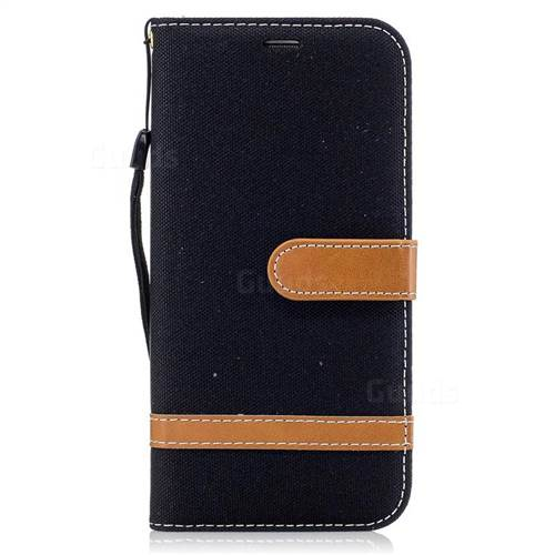 Jeans Cowboy Denim Leather Wallet Case for Samsung Galaxy S7 Edge s7edge - Black