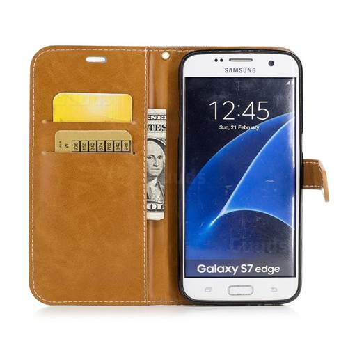 Jeans Cowboy Denim Leather Wallet Case for Samsung Galaxy S7 Edge s7edge - Gray