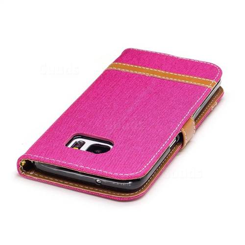 Jeans Cowboy Denim Leather Wallet Case for Samsung Galaxy S7 Edge s7edge - Rose