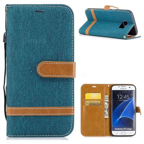 Jeans Cowboy Denim Leather Wallet Case for Samsung Galaxy S7 Edge s7edge - Green