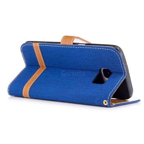 Jeans Cowboy Denim Leather Wallet Case for Samsung Galaxy S7 Edge s7edge - Sapphire