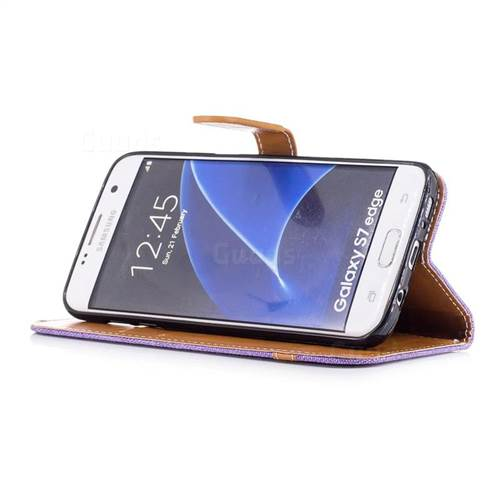 Jeans Cowboy Denim Leather Wallet Case for Samsung Galaxy S7 Edge s7edge - Purple