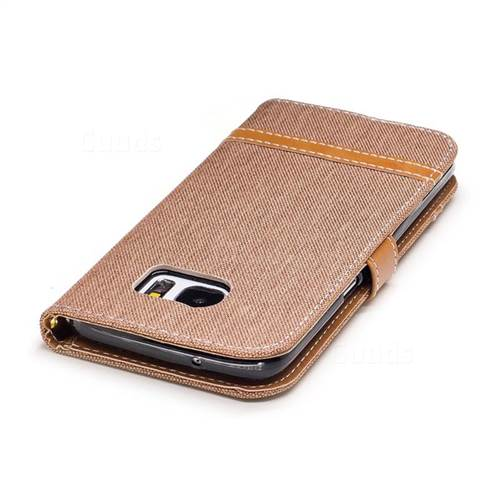 Jeans Cowboy Denim Leather Wallet Case for Samsung Galaxy S7 Edge s7edge - Brown