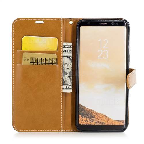 Jeans Cowboy Denim Leather Wallet Case for Samsung Galaxy S8 - Black