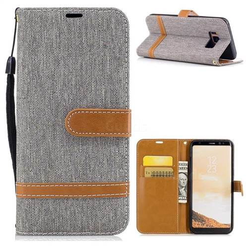 Jeans Cowboy Denim Leather Wallet Case for Samsung Galaxy S8 - Gray