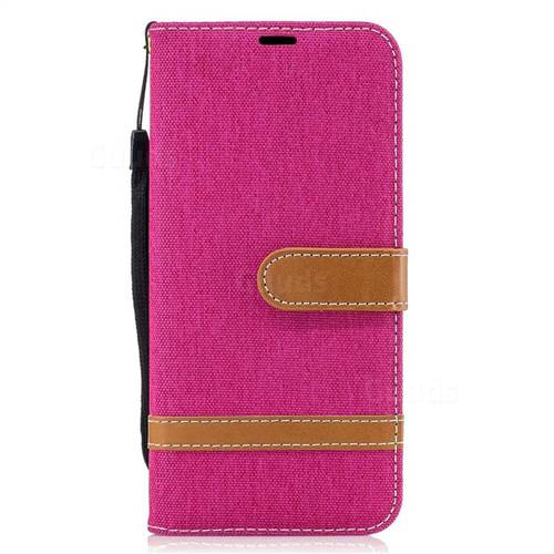 Jeans Cowboy Denim Leather Wallet Case for Samsung Galaxy S8 - Rose