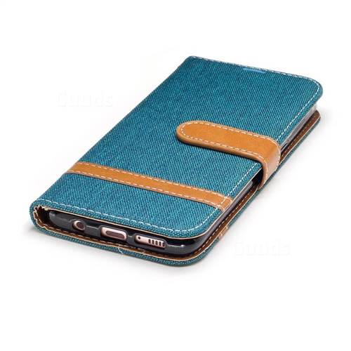 Jeans Cowboy Denim Leather Wallet Case for Samsung Galaxy S8 - Green