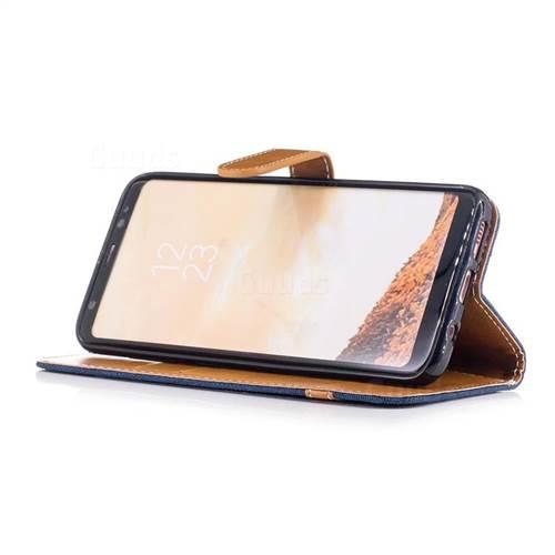 Jeans Cowboy Denim Leather Wallet Case for Samsung Galaxy S8 - Dark Blue