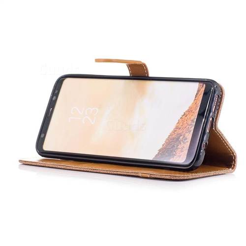 Jeans Cowboy Denim Leather Wallet Case for Samsung Galaxy S8 - Brown