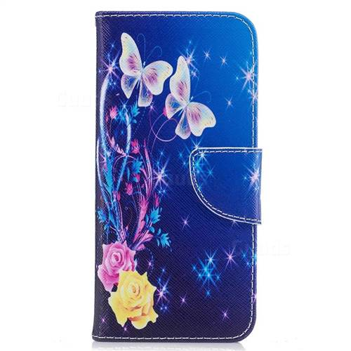 Yellow Flower Butterfly Leather Wallet Case for Samsung Galaxy S8