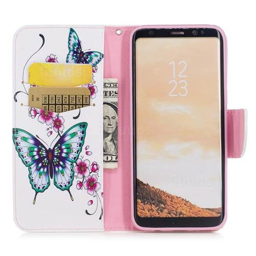 Peach Butterfly Leather Wallet Case for Samsung Galaxy S8