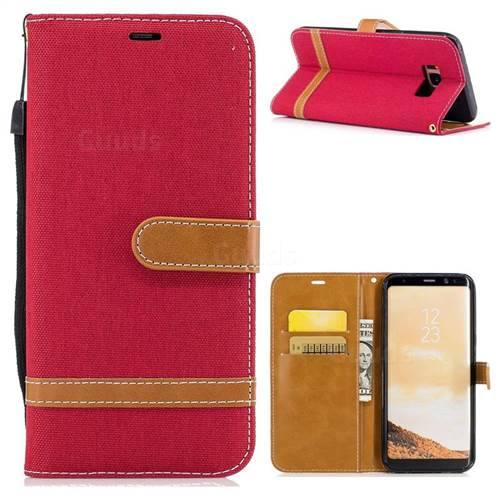 Jeans Cowboy Denim Leather Wallet Case for Samsung Galaxy S8 Plus S8+ - Red