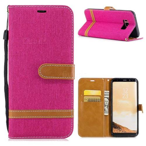 Jeans Cowboy Denim Leather Wallet Case for Samsung Galaxy S8 Plus S8+ - Rose
