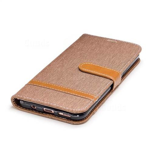 Jeans Cowboy Denim Leather Wallet Case for Samsung Galaxy S8 Plus S8+ - Brown