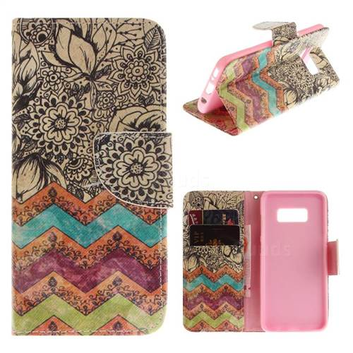 Wave Flower PU Leather Wallet Case for Samsung Galaxy S8 Plus S8+