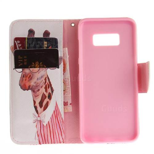 Pink Giraffe PU Leather Wallet Case for Samsung Galaxy S8 Plus S8+