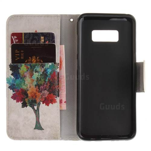 Colored Tree PU Leather Wallet Case for Samsung Galaxy S8 Plus S8+