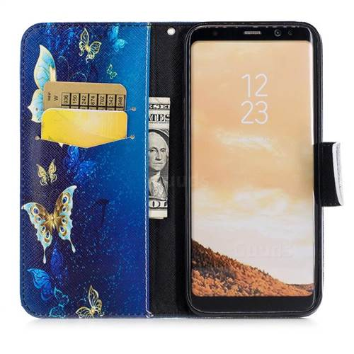 Golden Butterflies Leather Wallet Case for Samsung Galaxy S8 Plus S8+