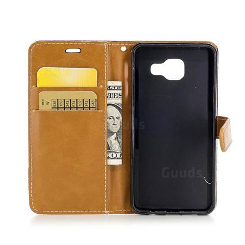 Jeans Cowboy Denim Leather Wallet Case for Samsung Galaxy A3 2016 A310 - Black