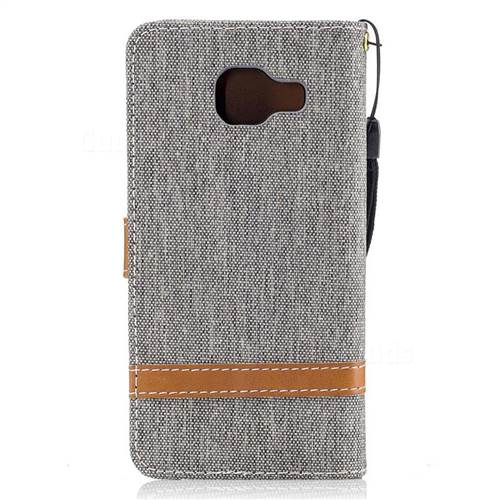 Jeans Cowboy Denim Leather Wallet Case for Samsung Galaxy A3 2016 A310 - Gray