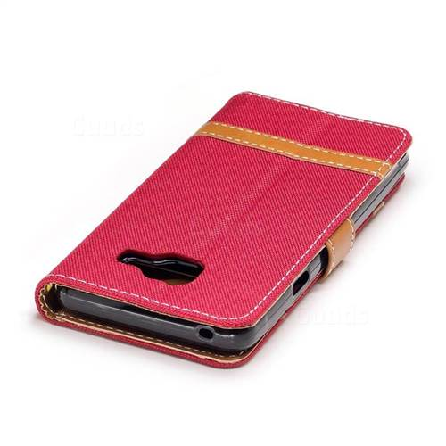 Jeans Cowboy Denim Leather Wallet Case for Samsung Galaxy A3 2016 A310 - Red