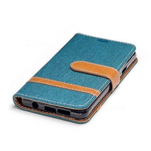 Jeans Cowboy Denim Leather Wallet Case for Samsung Galaxy A3 2016 A310 - Green