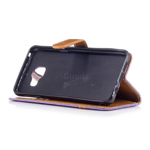 Jeans Cowboy Denim Leather Wallet Case for Samsung Galaxy A3 2016 A310 - Purple