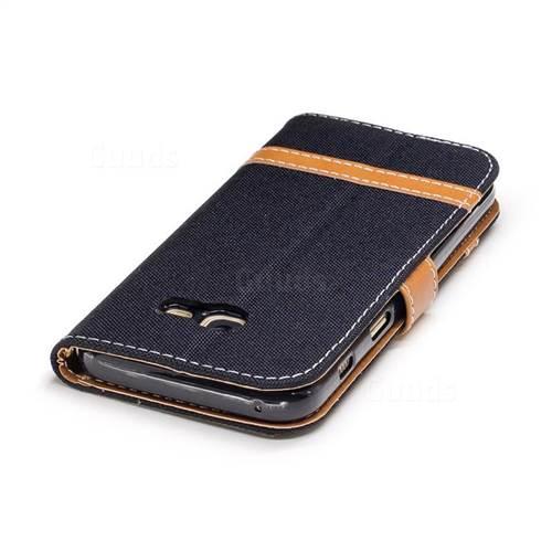 Jeans Cowboy Denim Leather Wallet Case for Samsung Galaxy A3 2017 A320 - Black