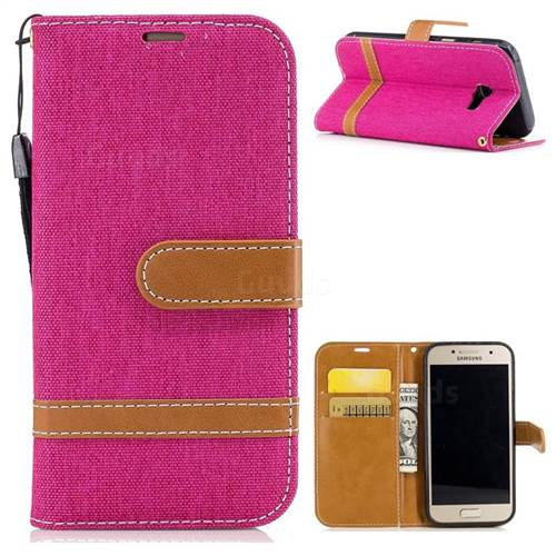 Jeans Cowboy Denim Leather Wallet Case for Samsung Galaxy A3 2017 A320 - Rose