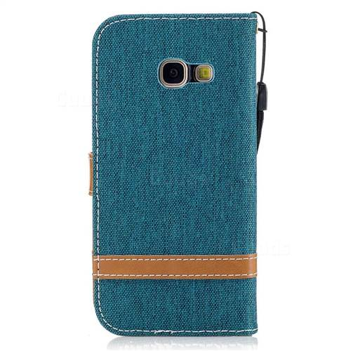 Jeans Cowboy Denim Leather Wallet Case for Samsung Galaxy A3 2017 A320 - Green