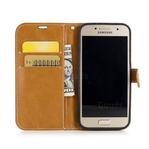 Jeans Cowboy Denim Leather Wallet Case for Samsung Galaxy A3 2017 A320 - Sapphire