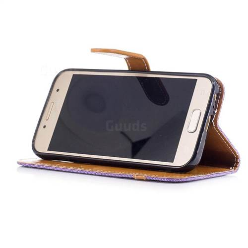 Jeans Cowboy Denim Leather Wallet Case for Samsung Galaxy A3 2017 A320 - Purple