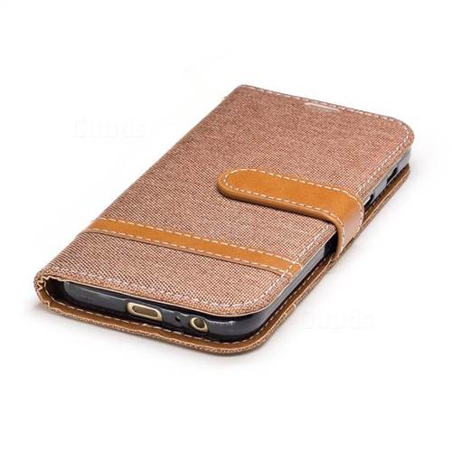 Jeans Cowboy Denim Leather Wallet Case for Samsung Galaxy A3 2017 A320 - Brown